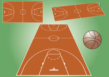 View of a basketball playground from different angles. Vector file Illustration