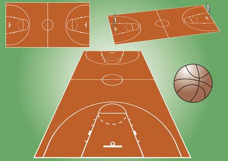 Vue sur un terrain de jeu de basket-ball à partir d'angles différents. Fichier vectoriel