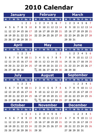 English 2010 vector calendar. Week starts on Monday. Easy to edit and apply Vector