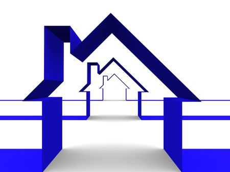 designed: Abstract houses made with lines. Real state concept Stock Photo