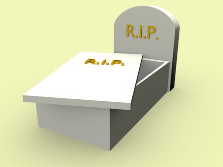 rest in peace: Open Tomb with the word rip in gold. Rest in Peace