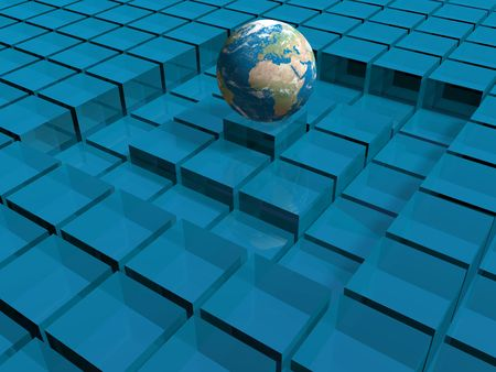 the world surrounded by blue glass cubes photo