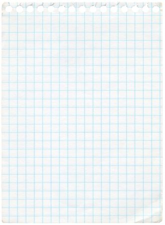 rascunho: Old graph paper isolated on white. Extra high resolution