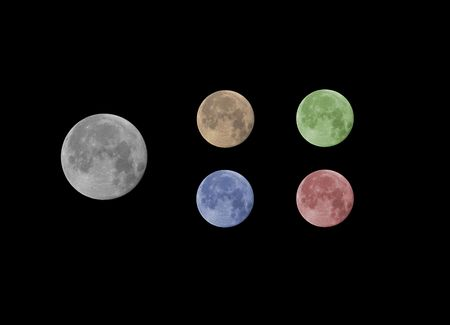 Photography of the moon in diverse colors.