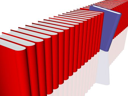 3d Render of various books in red. The selection is in blue Stock Photo - 6880666