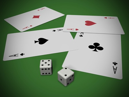 four cards and two dices over a green background Stock Photo - 6975644