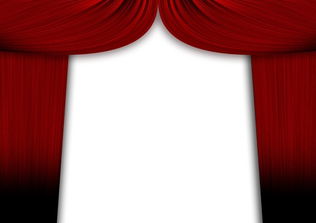 Red curtains with sadows over a white background photo