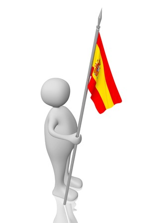 A man holding in the hand  a spanish flag photo