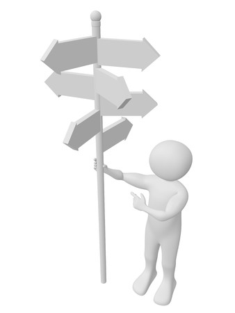 signpost: A man is taking a decission with the help of a signpost