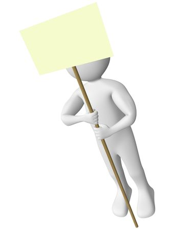 A man is holding a yellow sign. Put your own text Stock Photo - 7313952