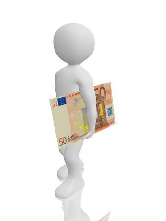 referenz: ein Mann ist mit einem 50-Euro-Banknote Fu�.