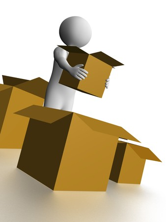 A man is carrying a opened cardboard box Stock Photo - 7616354