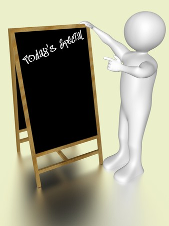 A man is pointing to a menu blackboard Stock Photo - 7616353