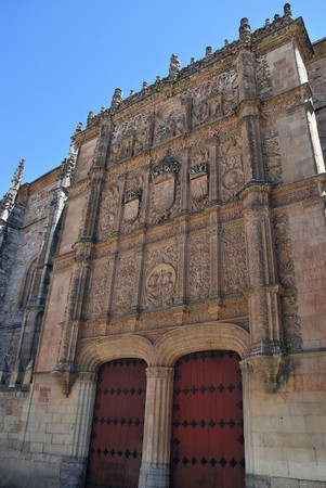 salamanca: Facade of the University of Salamanca. Legend says that we must find a frog in it for luck.