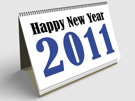 First sheet of a calendar wishing a Happy new year 2011. Stock Photo - 7695482