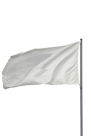 bandera blanca: Aislados bandera de blanco, ondeando en el viento
