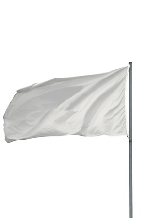 sign pole: Isolated White flag waving on the wind
