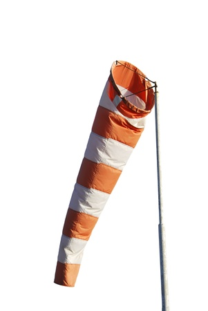 Windsock isolated over white. Tool for measure the wind force photo