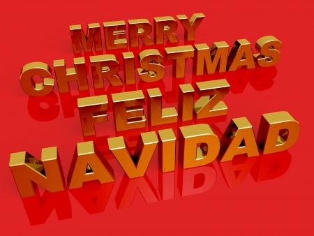Merry Christmas, Feliz Navidad. Golden words over a red background photo
