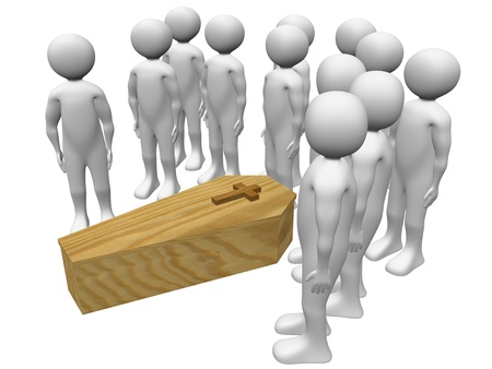 farewell: Conceptual illustration of a funeral. Family and friends say goodbye to the corpse