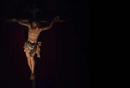 Jesus Christ crucified. Catholic symbol. Copy Space photo