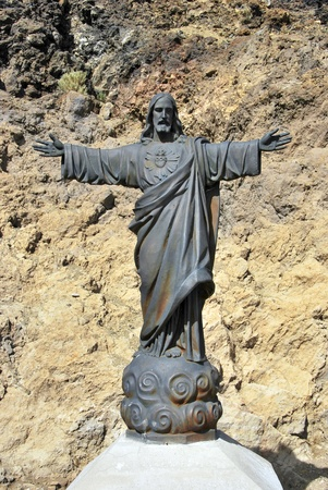 Statue of Jesus Christ in Mount Teide. Tenerife. Spain. Christian Symbol photo