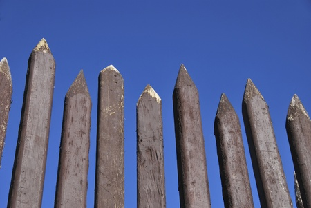 Detail of a wooden palisade painted in brown Stock Photo - 8470990