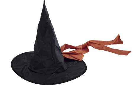 balck witch hat with an orange bow isolated over white photo
