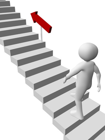 go up: A man is climbing the stairs. Sucess in business concept Stock Photo