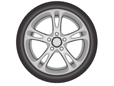 rim: Wheel with aluminum rim isolated over a white background. 3d illustration
