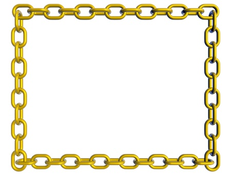 Frame made with golden chain links. 3d render photo