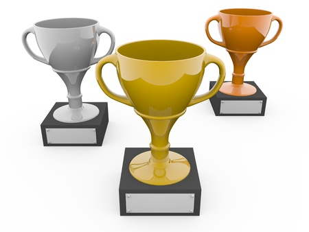 Three metal trophys. Gold, silver and bronze. 3d render Stock Photo - 9615773