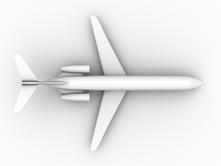 3d render of a white airplane. Transport by air