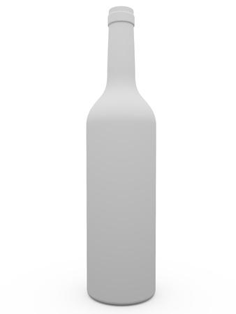 White wine botle over a white bakcground photo