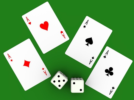 Four aces and seven points. Poker cards and dices. Stock Photo - 9737891