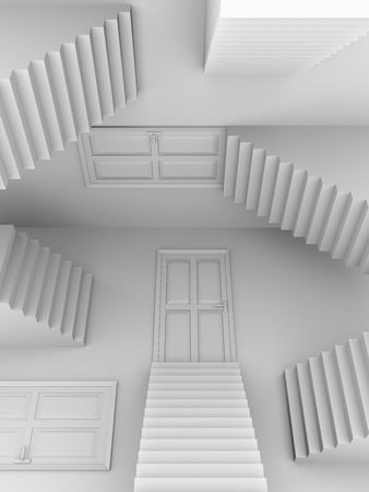 Doors and stairs. Abstract scene in white. 3d render photo