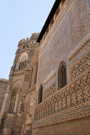 mudejar: Mudejar style facade. Cathedral of Zaragoza. Seo of Zaragoza. Spain