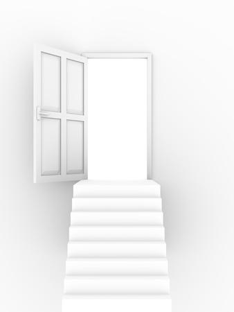 Open door over the stairs. Conceptual illustration. 3d render