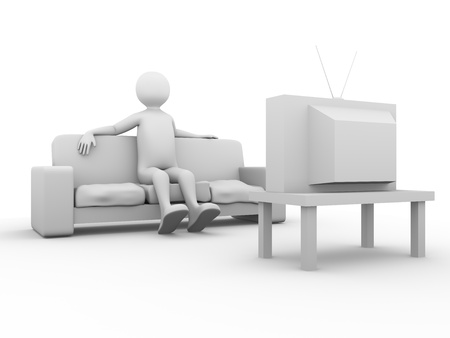 Tv viewer. Television spectator sitting on the sofa. 3d render Stock Photo - 9984961