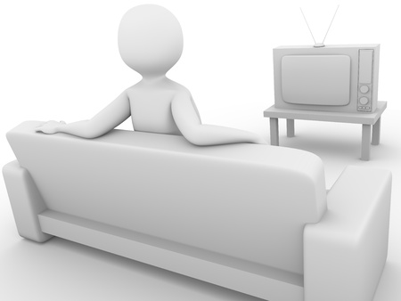 Watching television. Tv viewer sitting on the sofa. 3d render photo