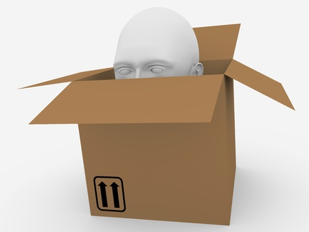 inconspicuous: Human head popping out of a cardboard box. Abstract illustration