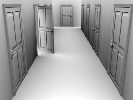 apartment suite: A corridor with some doors. One door is open. 3d render