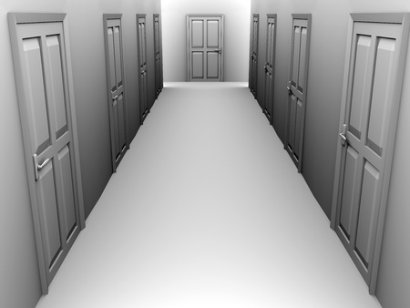 apartment suite: A corridor with some closed doors. 3d render Stock Photo