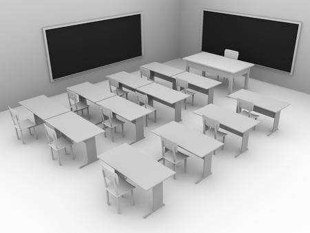 Illustration of an empty classroom. Concept of education. 3d render illustration