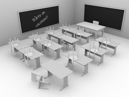 pedagogy: Illustration of a disordered classroom. Students are on vacation