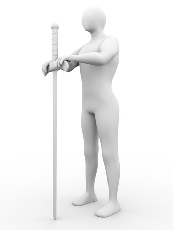swordsman: Swordsman with a long sword. 3d render.