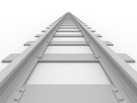 ferrocarril: Ferrocarril recta. Concepto de transporte. Ilustraci�n 3D