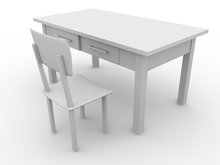 dinning table: Illustration of a chair and a table. 3d render