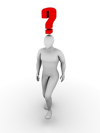 confuse: Man walking with a big question sign over his head Stock Photo