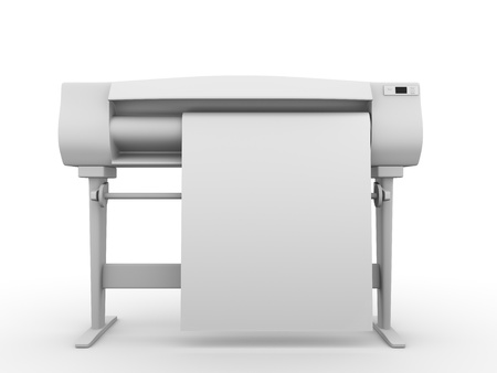 printer drawing: Plotter. Frontal view. Professional equipment for digital printing. 3d render